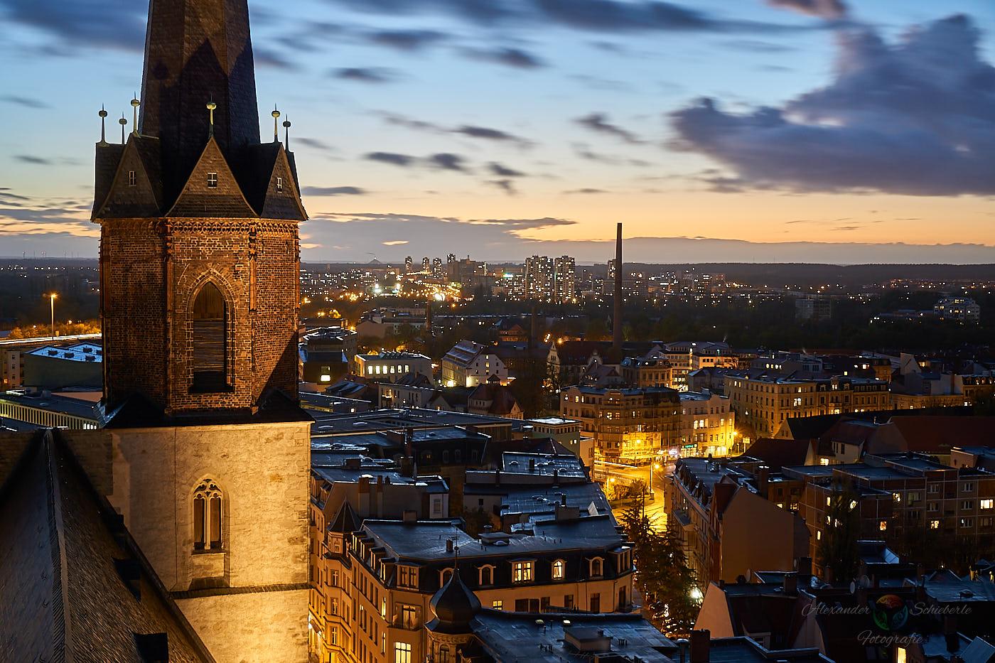 Blick von den Hausmannstürmen über die Stadt in Richtung Neustadt