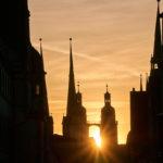 Marktkirche mit Sonnenuntergang