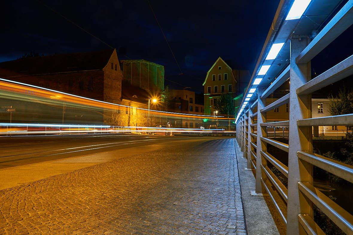 Lichtzieher von Straßenbahnen - Klausbrücke in Halle